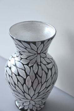 Black And White Hand Painted Glass Vase