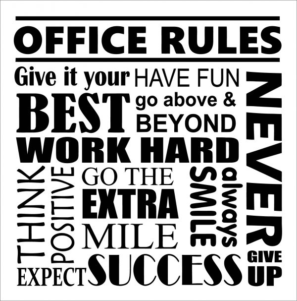 Office Rules Wall Decal Motivational Poster Office Sign Teamwork Success Quote Teamwork Quotes Motivational