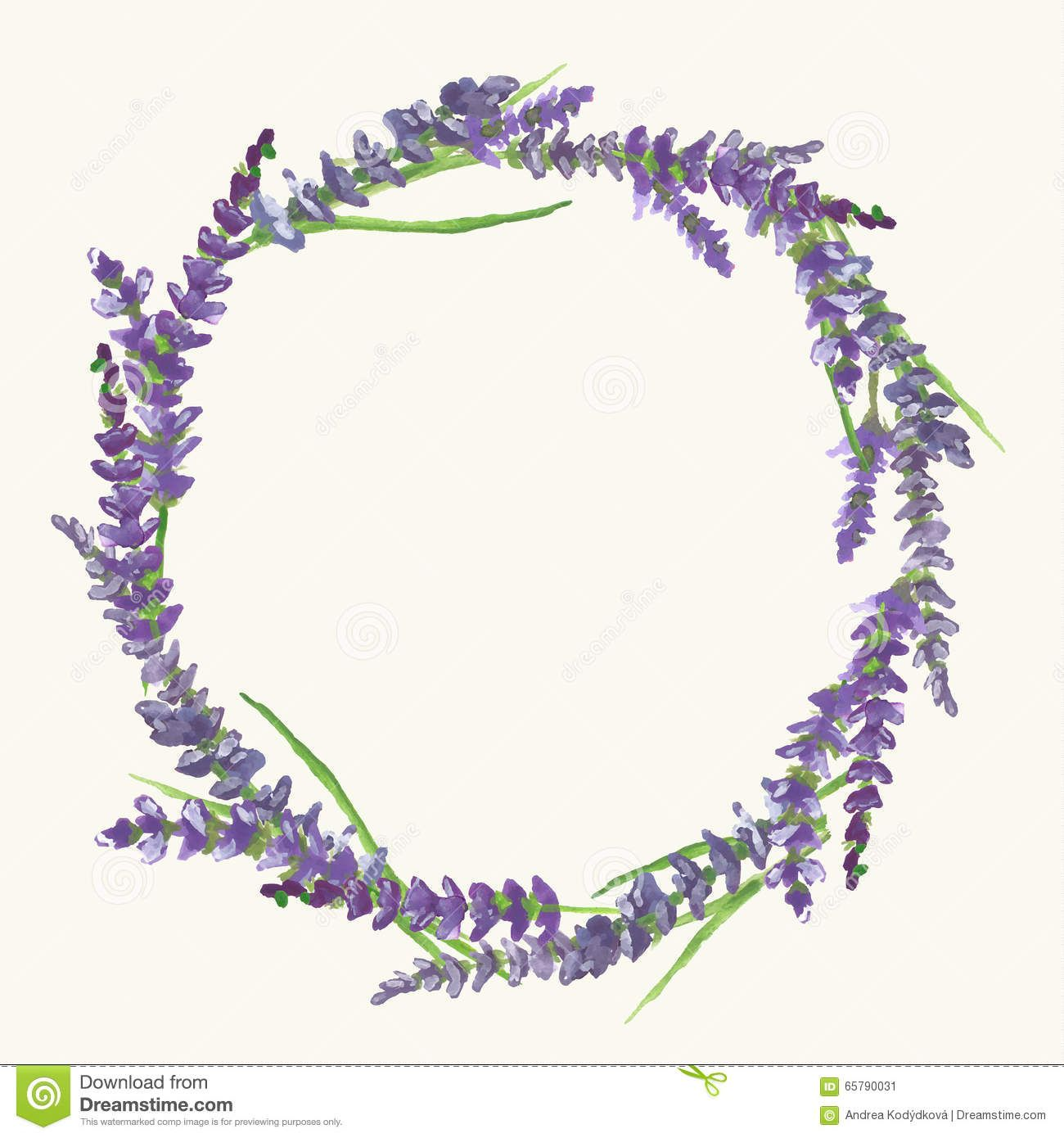 Lavender Wreath Watercolor Painting Illustration Flower Wreath Illustration Wreath Illustration Wreath Watercolor