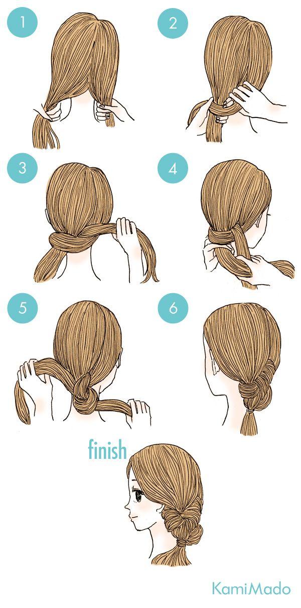 ゴムを無しで出来るオシャレなノットヘアーに挑戦 イラスト付き 髪のスケッチ ノットヘアー 髪 セット