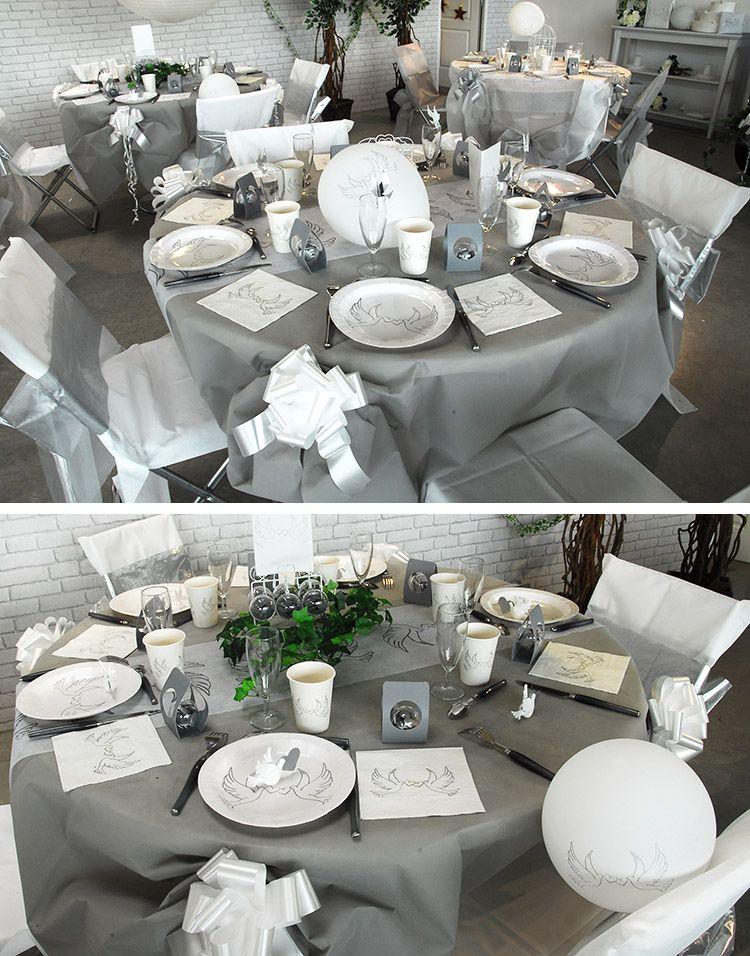 Table De Mariage Colombe Deco Table Arts Ephemeres Table Mariage Table Mariage Gris Deco Mariage Blanc