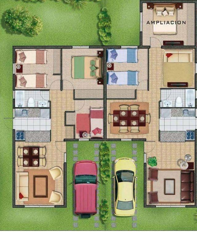 Plano de casa de 48 m2 home pinterest house - Como hacer un plano de una casa ...