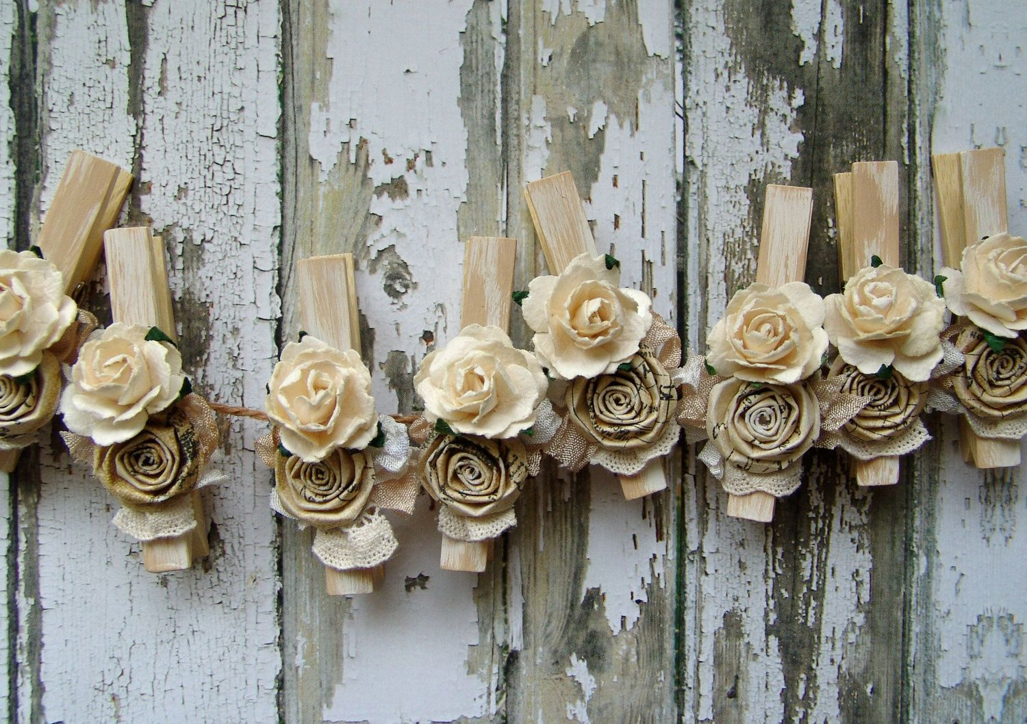 Pinterest Crafts Wedding: Shabby Chic Ivory Decorated Clothes Pins Set Of 8 Clothing