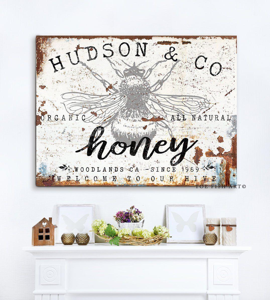 Vintage Farmhouse Decor Custom Family Name Sign Personalized Last Name Wall Art Rustic Honey Bee Decor Fa Honey Bee Decor Name Wall Art Vintage Farmhouse Decor