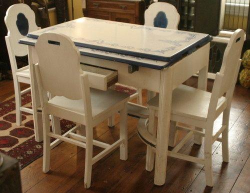 Vintage Ca 1930 S Art Deco Enamel Porcelain Top Table Blue White Plus 4 Chairs Vintage Kitchen Table Top Kitchen Table Deco Furniture