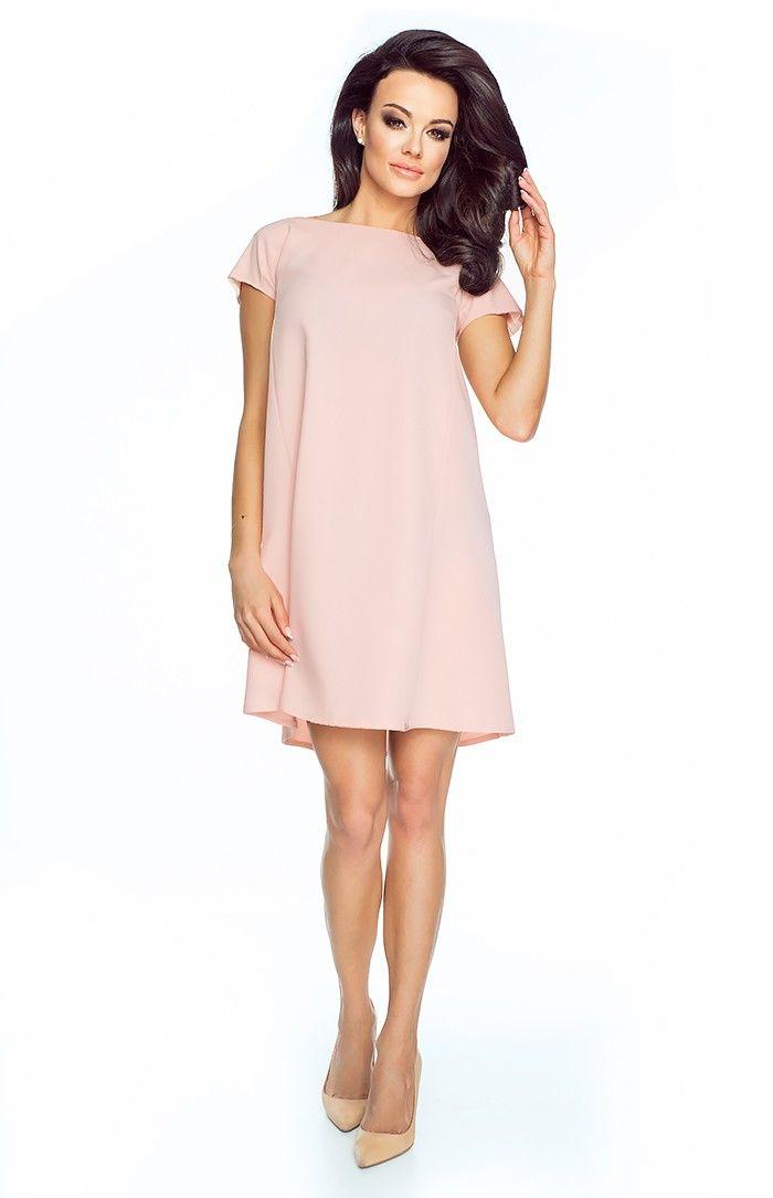 7d56153ec98 charmante+robe+trapèze+à+manches+courtes+et+décolleté+dos.