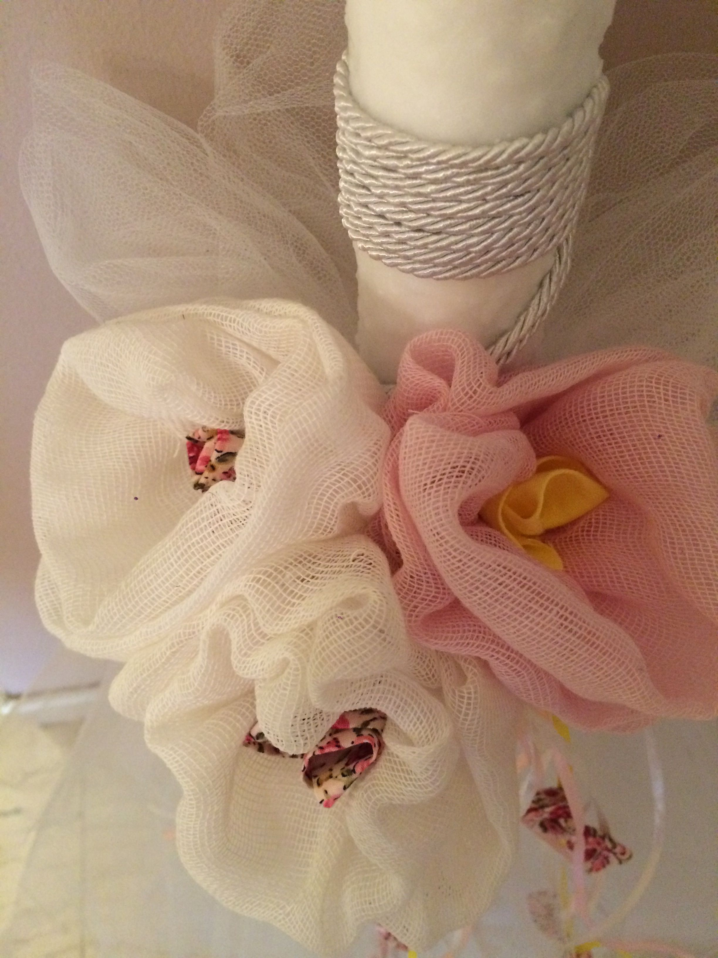 0083ab7dabc Candle for christening decorated with tulle, fabric flowers, saten ...