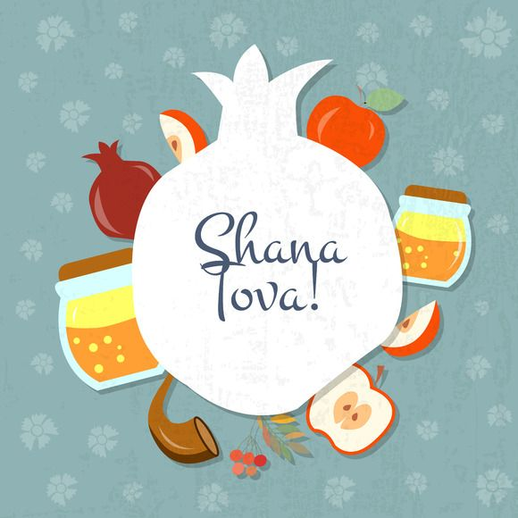 Shana Tova Card Template by Alps View Art on Creative Market #shanatovacards