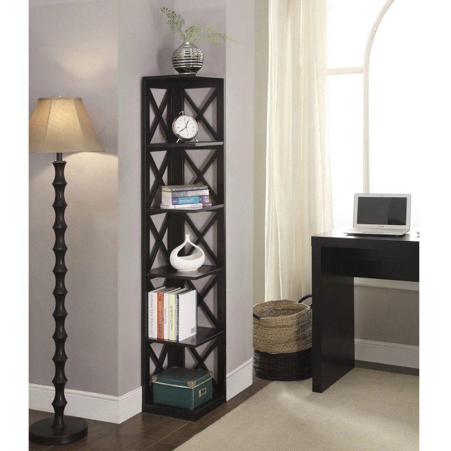 Corner Bookshelf Tall Bookcase 5 Tier Shelves Farmhouse Organizer Black Wood Cornerbookshelf Cornerbookcase 5tierbookcase