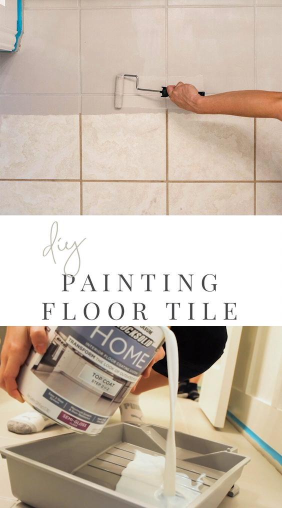 DIY Painted Tile - Bathroom Transformation - DIY Home Project - Paint Bathroom Floor Tile