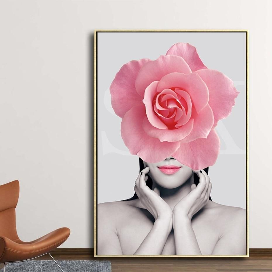 Pink Floral Fashion Figure Modern Salon Wall Art Posters Fine Art Canvas Prints Nordicwallart Com Flower Canvas Wall Art Salon Wall Art Flower Wall Art
