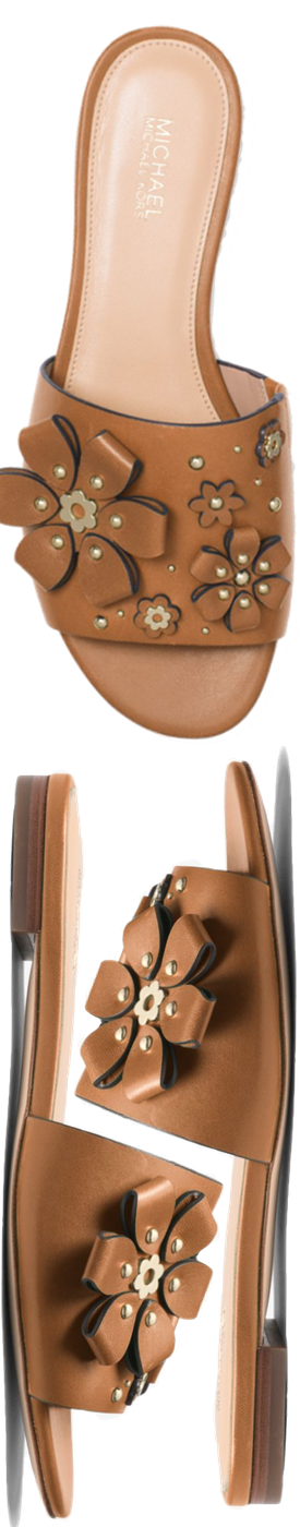 f7eb378fb23 MICHAEL MICHAEL KORS Tara Floral Embellished Leather Slide in Acorn ...
