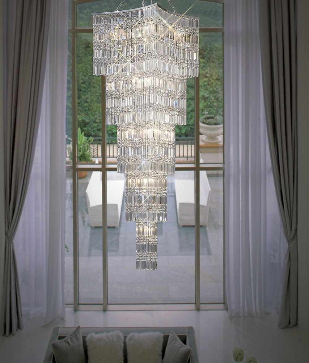 Square Tiered Crystal Pendant Drop 3 5m Large Chandelier High