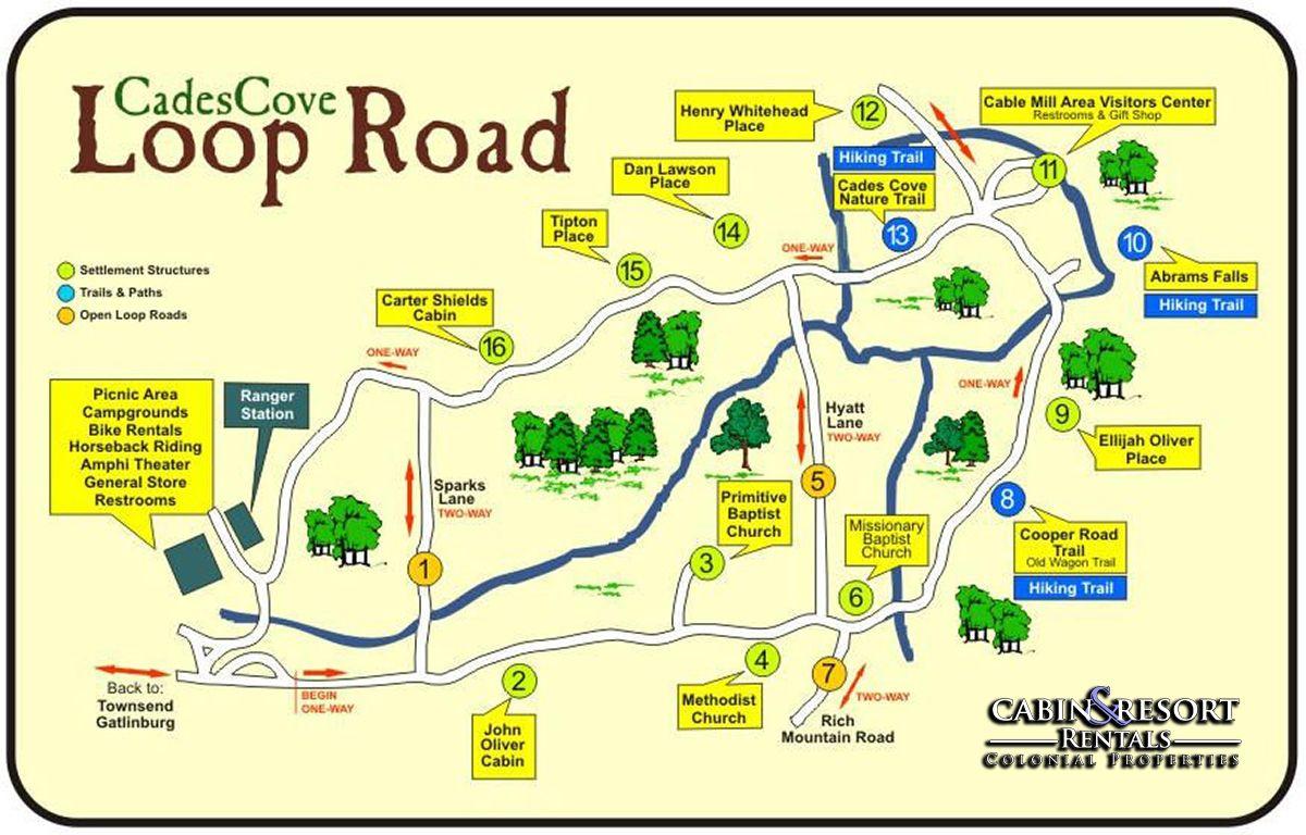 Cades Cove Map Jpg Cades Cove Smokey Mountains National Park
