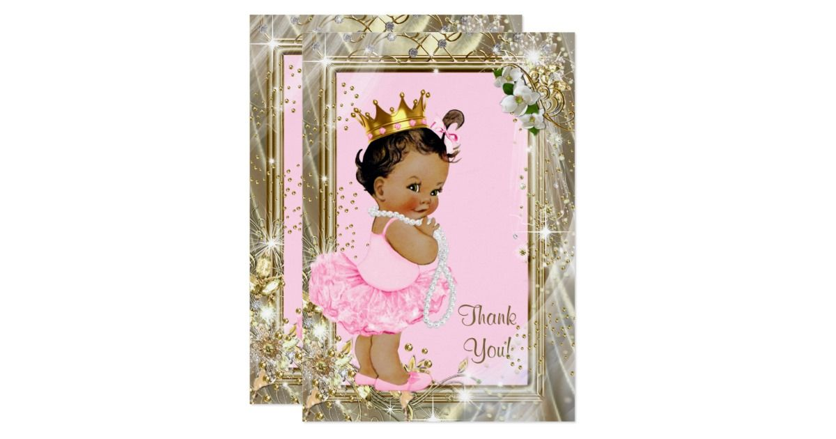 ethnic princess pearls flat baby shower thank you card   flats, Baby shower invitations