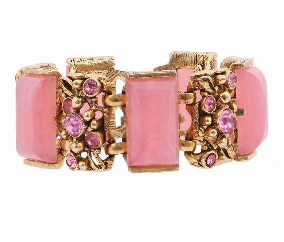 Selro Pink Rhinestone Lucite Bracelet by EmbellishgirlVintage
