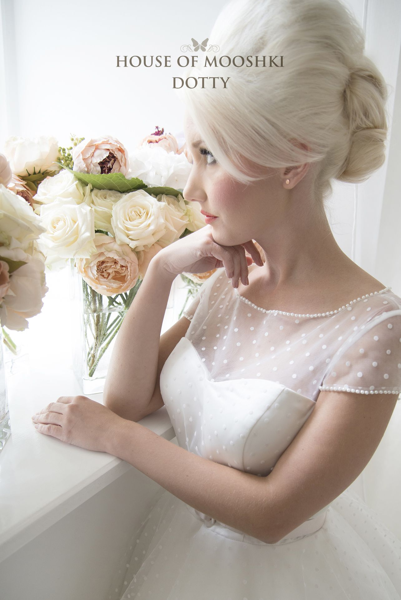 Wedding dresses for full figures  Dotty Cute and classic polka dot tea length wedding dress Pure
