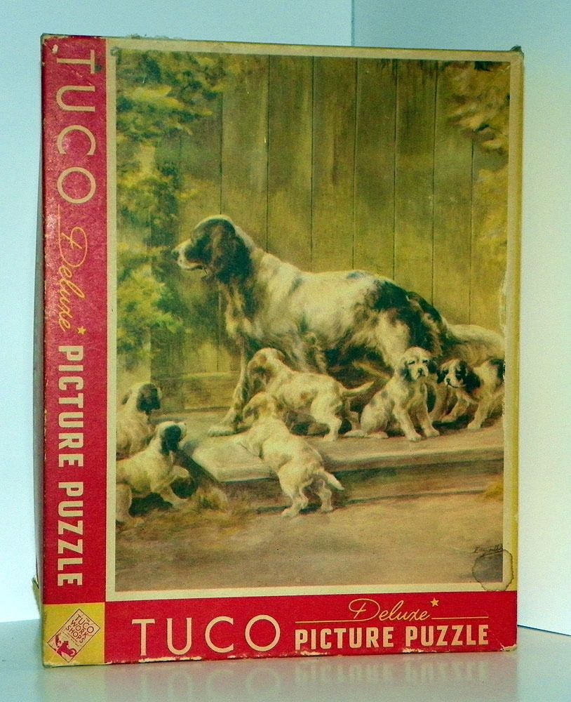 Beautiful 1940's TUCO Deluxe Picture Puzzle #3905 PUPS AT PLAY by Edmund Osthaur