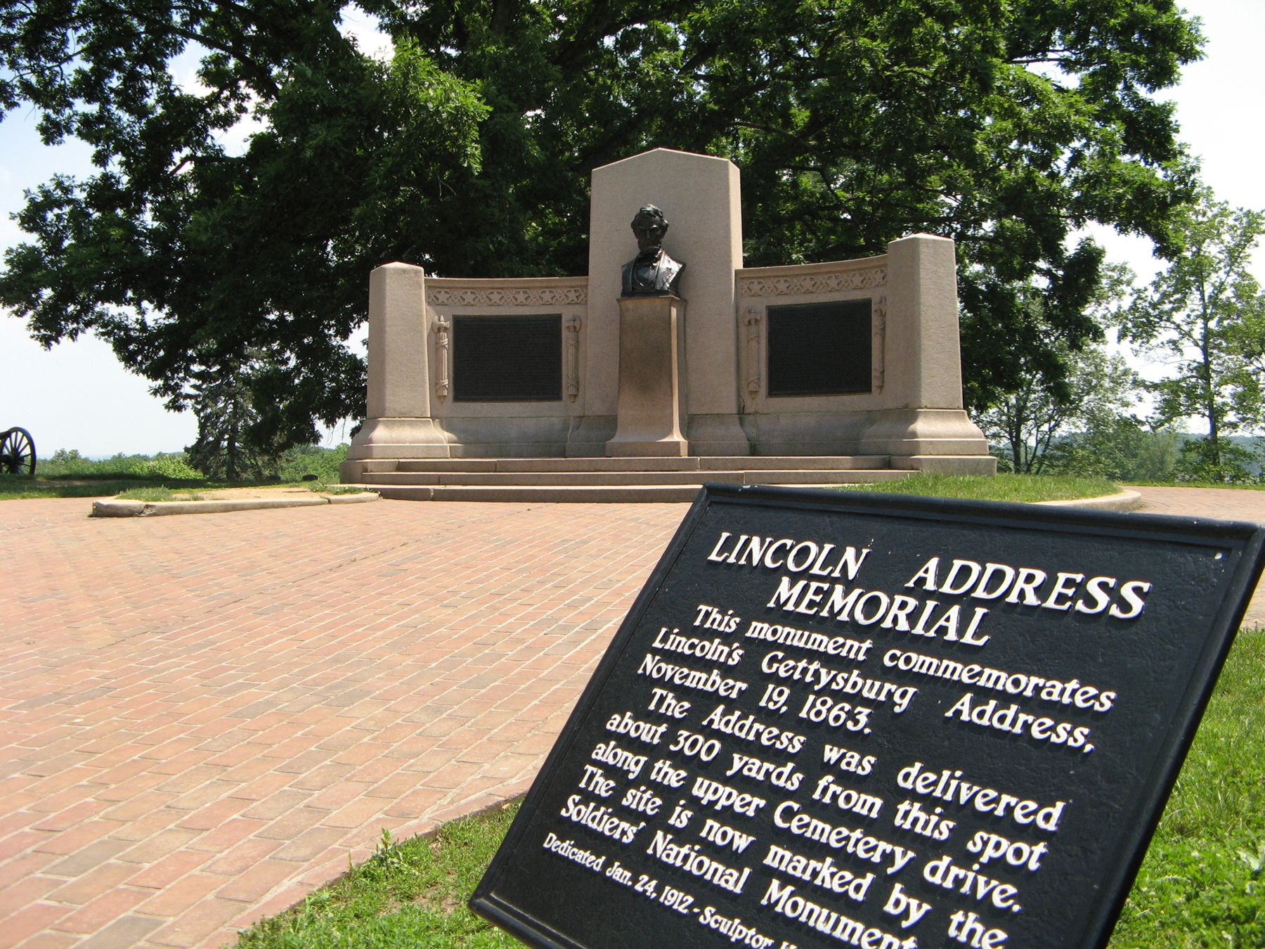 A Marker Stands Next To The Memorial Dedicated To Abraham
