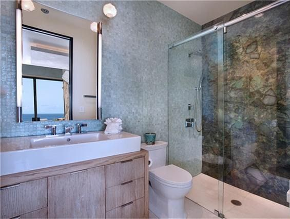 Modern Oceanview Home Laguna Beach CA Bathroom With Marled - Beach scene bathroom decor for bathroom decor ideas