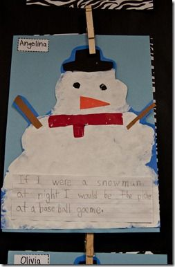"""Glue and shaving cream ... """"If I were a snowman at night..."""" after reading Snowmen at Night"""