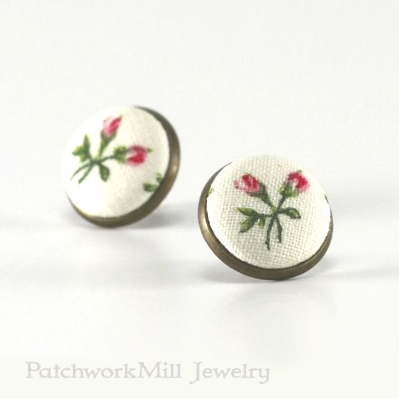 Green and White Floral Fabric Button Earring