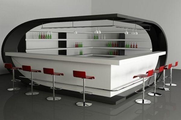 Futuristic home bar employs red and white | Futuristic, Bar and Showroom