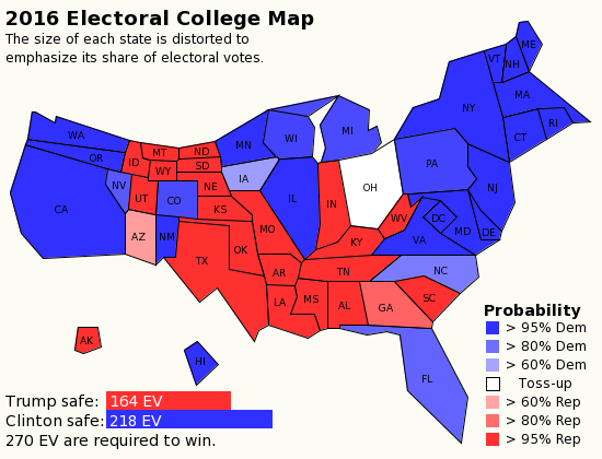Today\'s Electoral College Map | Electoral college map, Map ...