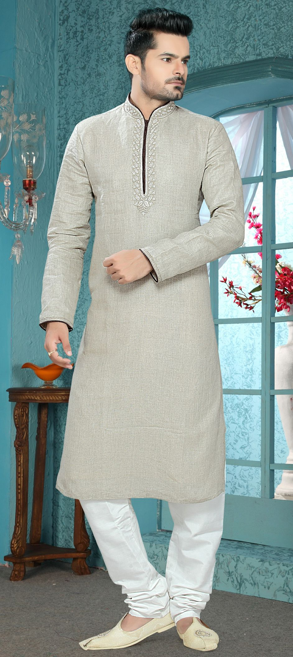 bed54db1352c Linen Kurta Pyjamas in Black and Grey with Thread work in 2019 ...