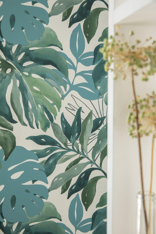 Papier Peint Motif Nature papier peint vinyle marqué à chaud jungle aquarelle vert