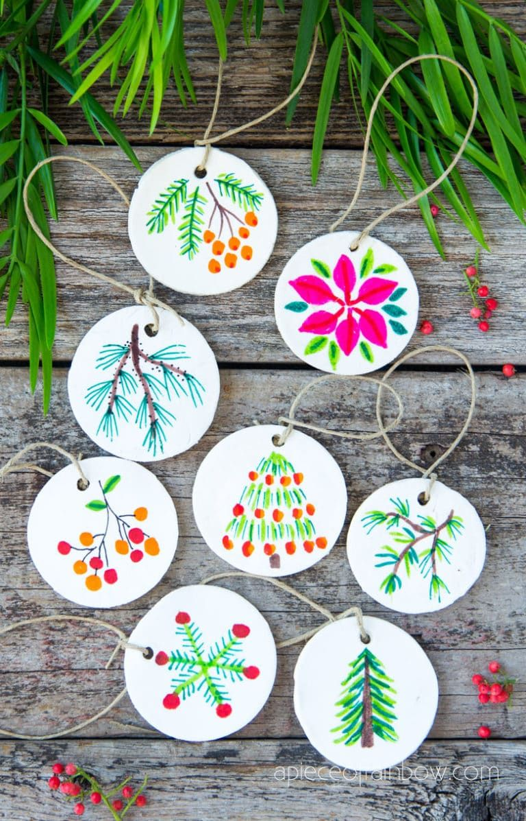 Decorating Homemade Clay Salt Dough Christmas Ornaments Salt Dough Christmas Ornaments Holiday Crafts Gifts Diy Air Dry Clay