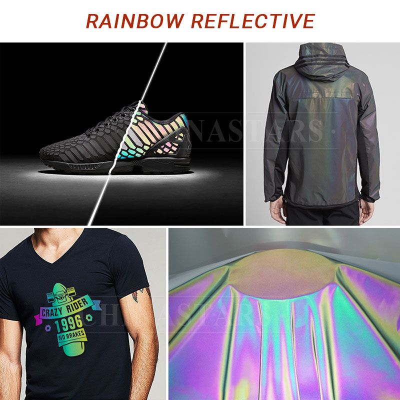 Be Outstanding At Night With Rainbow Color The Rainbow Reflective Fabric Rainbow Reflective Heat Transfer Viny Reflective Reflective Vest Reflective Material