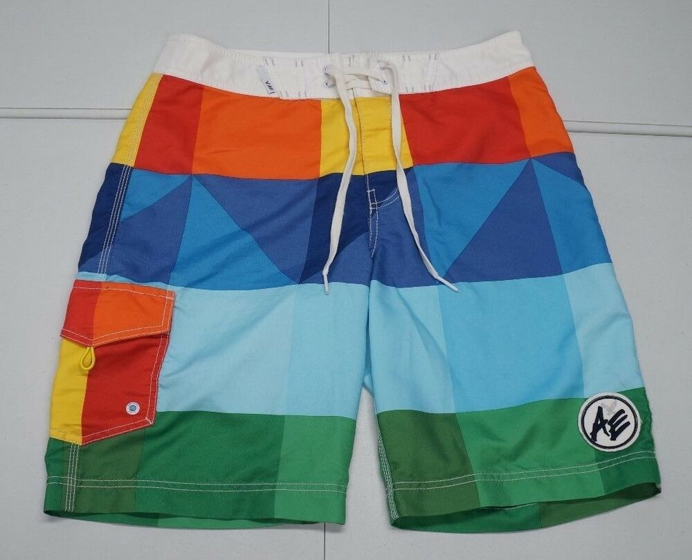 db3359d37e (eBay Sponsored) American Eagle Outfitters Mens M Multi Color Polyester Swim  Trunks Board Shorts