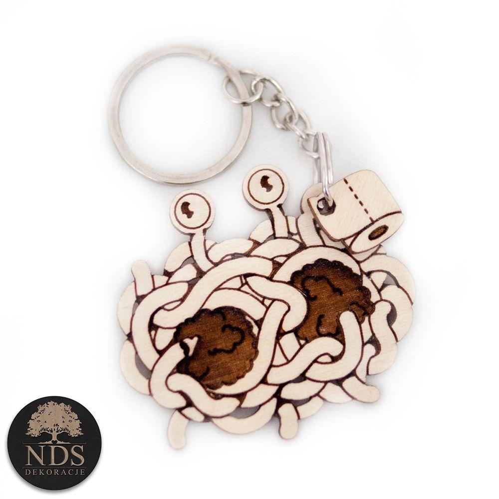 Drewniany Brelok Latajacy Potwor Spaghetti Keychain Personalized Items Items