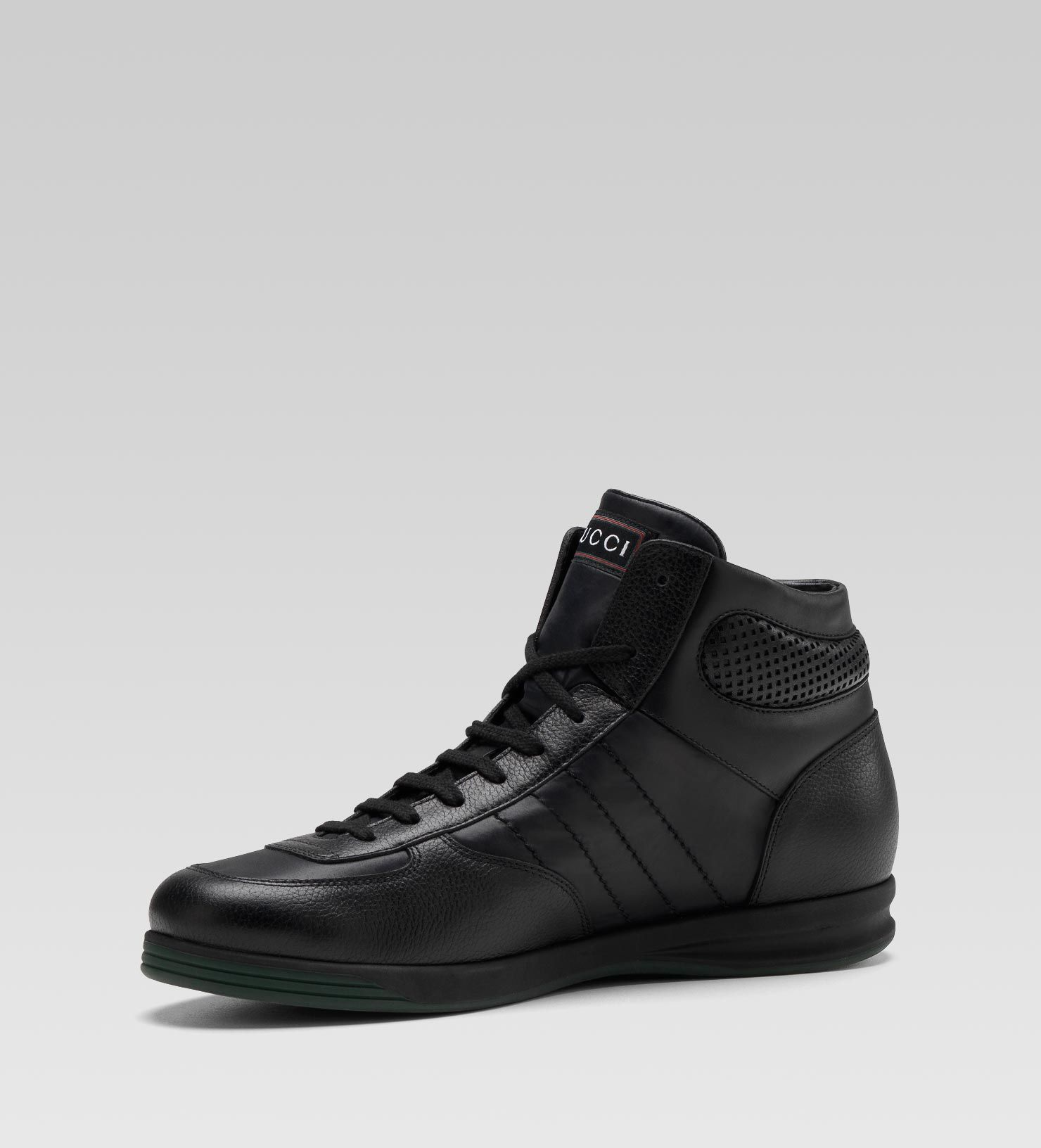 3d82b9e86bdd Gucci Sneakers 1984   Gucci men hi-top lace-up sneaker black leather ...