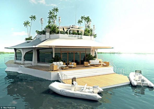 Yacht Island boats that are like islands | floating island luxury yacht | man