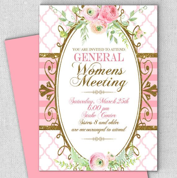 Relief society invitation general meeting invitation floral any relief society invitation general meeting invitation floral any occasion invitation customized with your wording digital or printed stopboris Images
