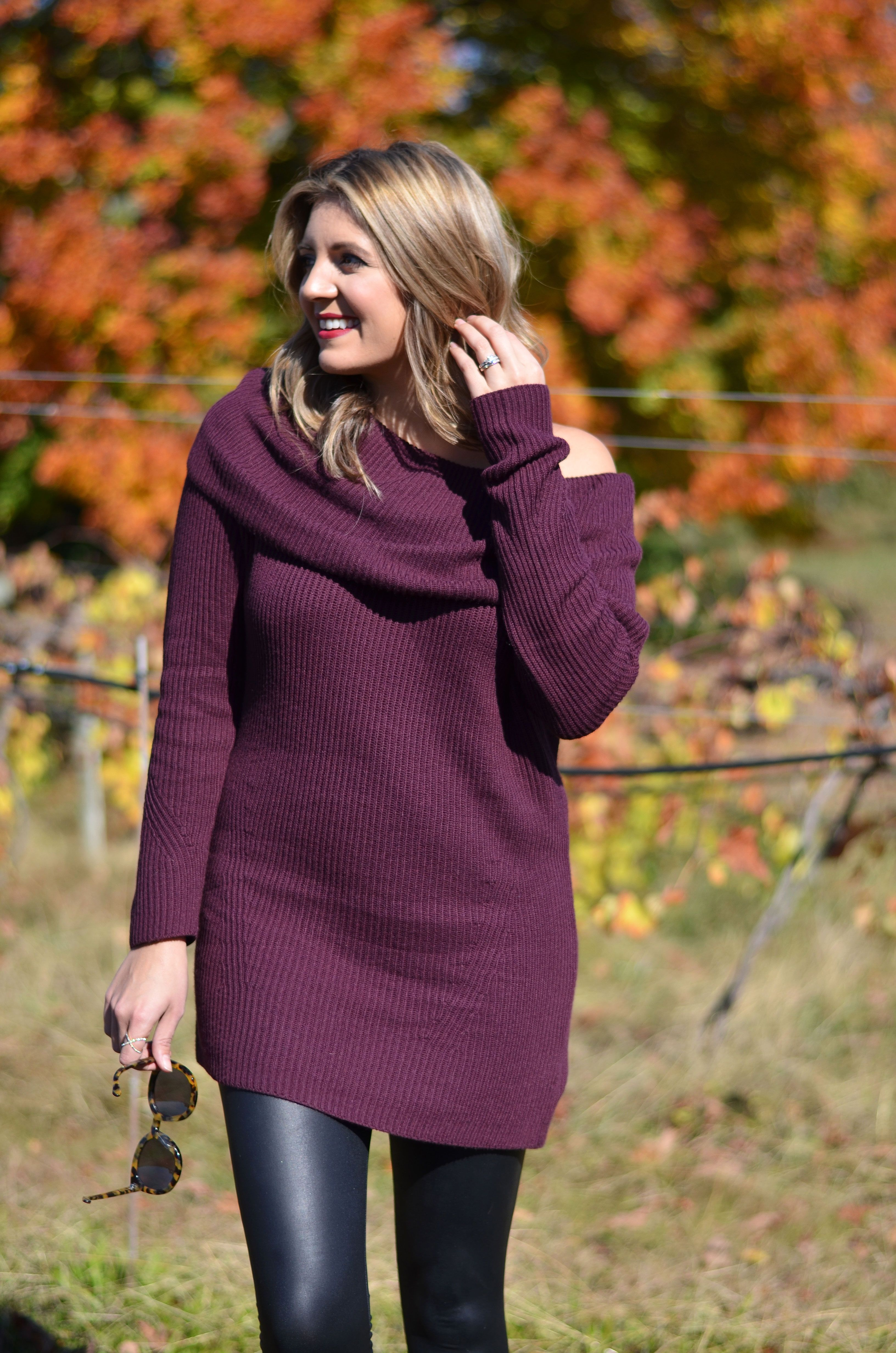 burgundy off shoulder sweater tunic | www.bylaurenm.com | Outfit ...