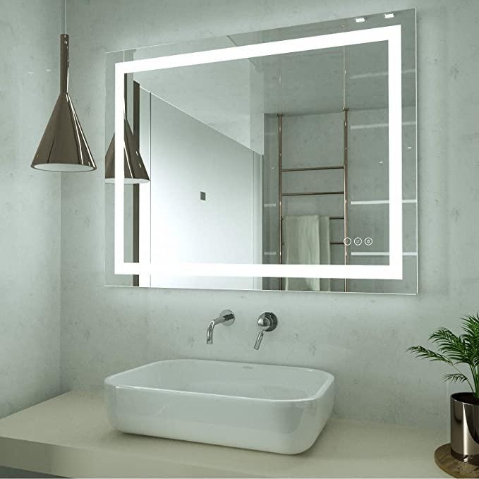 Amazon Com Hauschen 32x40 Inch Led Lighted Bathroom Wall Mounted Mirror With High Lumen Cri 95 In 2020 Wall Mounted Mirror Bathroom Inspiration Decor Bathroom Mirror