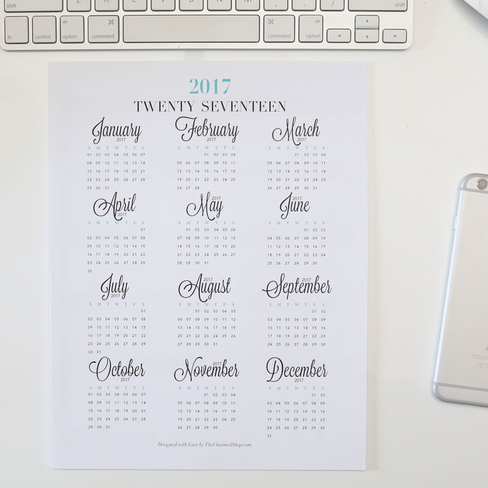 2017 year at a glance calendar printable letter a4 a5 half letter