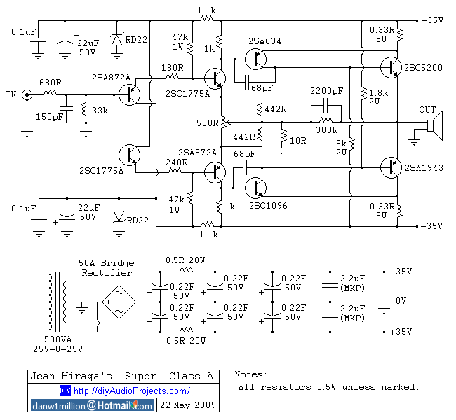 Jean Hiraga Super Class-A Amplifier Schematic | rangkaiannn ...