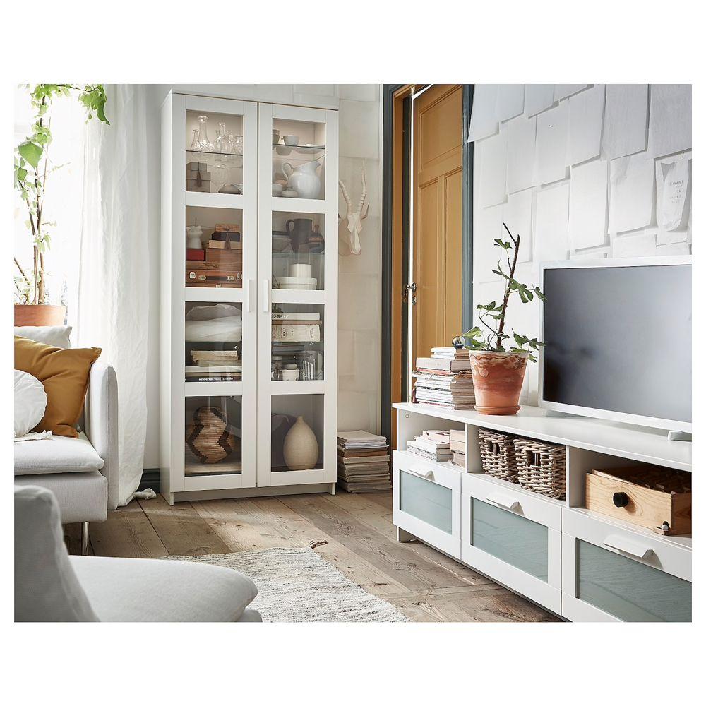 Brimnes Vitrine Blanc 80x190 Cm Ikea Armoire Avec Portes Vitrees Armoire De Salon Etagere Salon