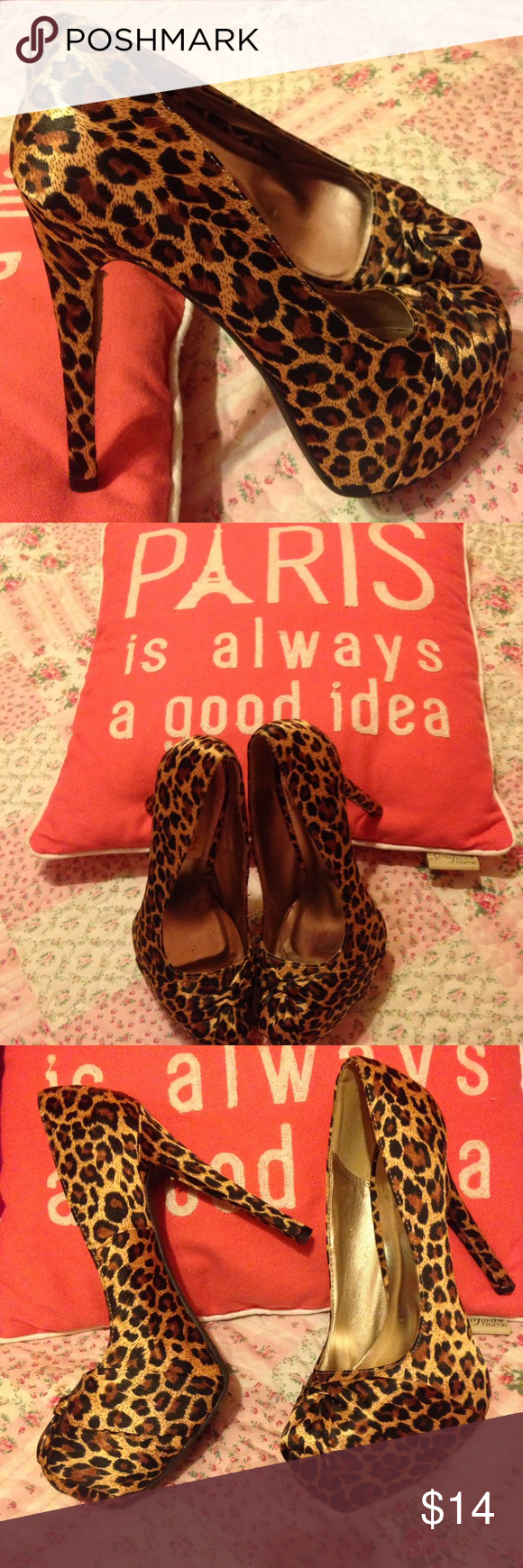 Women's High heels Women high heels animal prints I only wore once Qupid Shoes Heels
