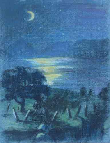 Clair de lune sur le lac de Presba.1918.