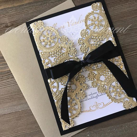 Black White And Gold Paper Lace Gatefold Wedding Invitation Black And Gold Theme Black And White Wedding Invitations Wedding Invitations