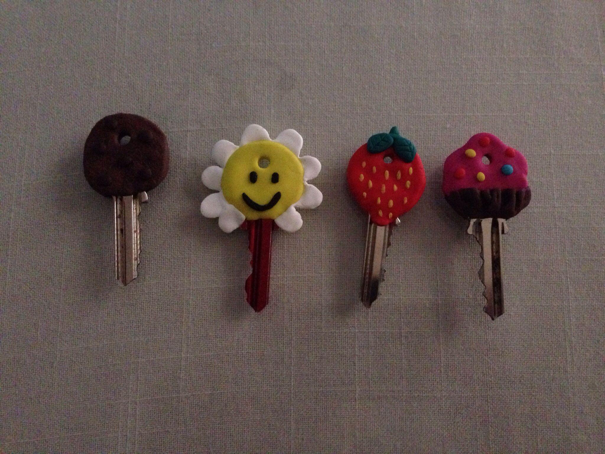 Llaves decoradas con fimo, polymer clay key