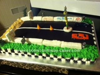 Homemade Drag Strip Birthday Cake I Made This For My Husband S 60th He Loves Racing His 1981 Chevy Camaro Pro Stick