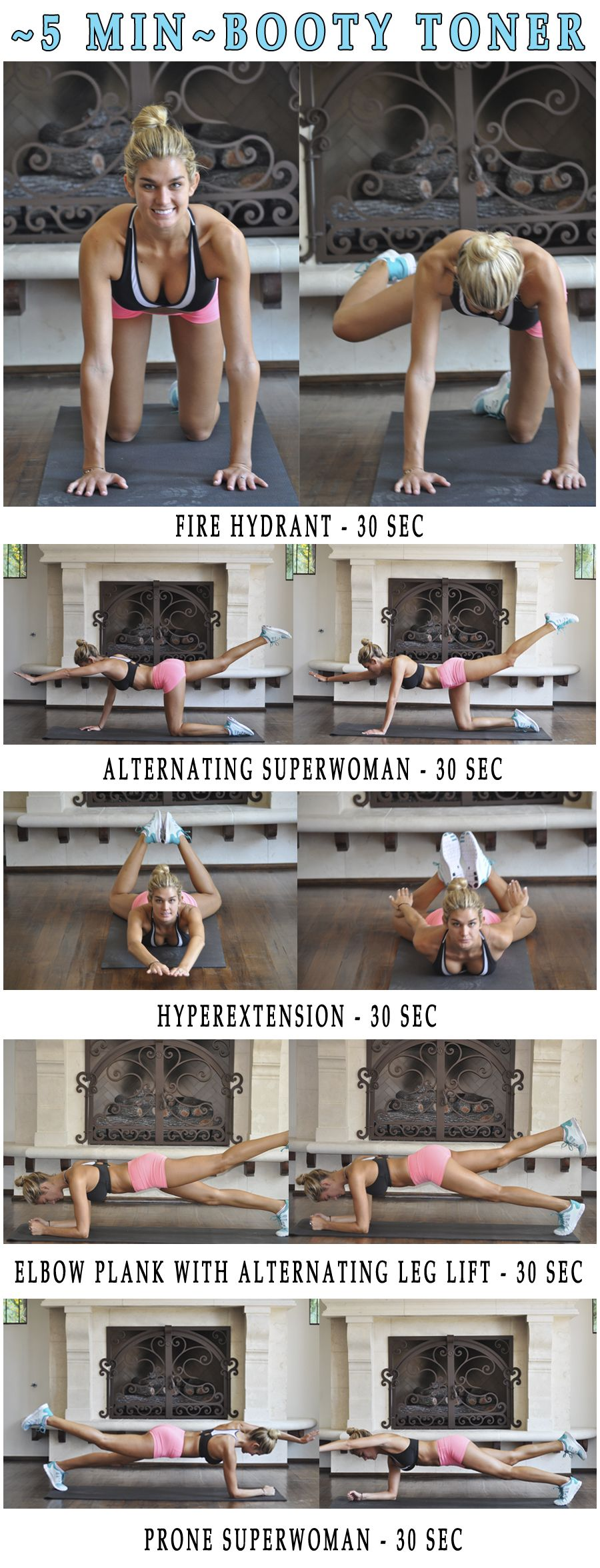 5 min Butt Workout. Slim, sculpt, and lift your booty with this quick routine.