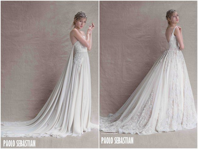 Paolo Sebastian - Sirens of the Sea. Gorgeousbeaded chiffon Ivory wedding dress