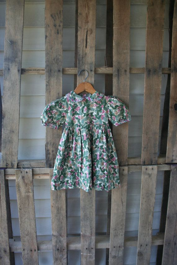 Vintage Pink & Green Holly and Pinecone Dress by by vintapod